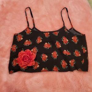 Forever 21 black & rose crop top